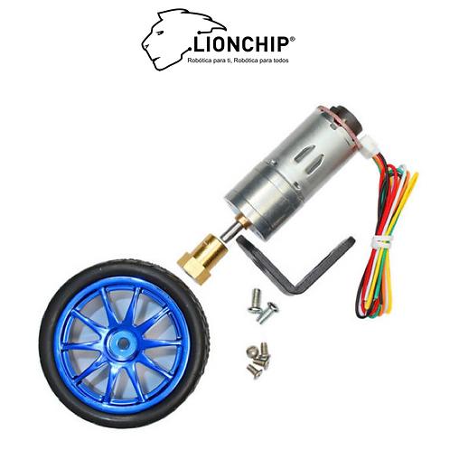 Motor DC con Encoder, Rueda y Cople 6V 260 RPM