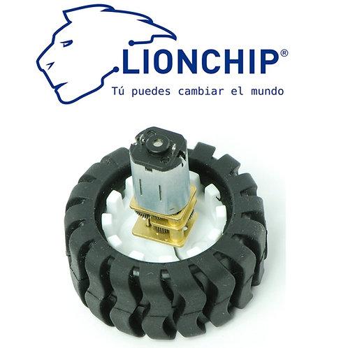 Motor DC N20 Micro Motorreductor 1.2kg/cm con Llanta