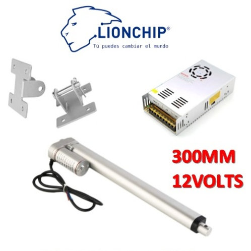 Kit Actuador Lineal 300 mm 12 VDC 130 kg con Bases y Fuente