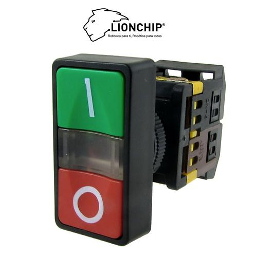 Boton ON OFF con Luz NO NC 22mm PLC