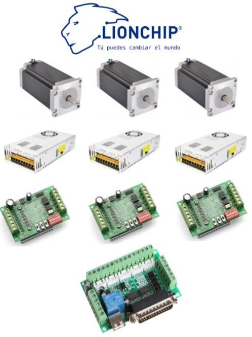 Kit CNC 3 Nema 23, 3 Fuentes, 3 Drive, 1 Controlador USB