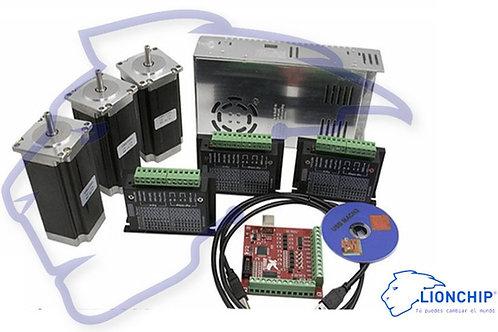 Kit Completo 3 Nema 23 Con Driver TB6600 Fuente de Poder 12V 30A Tarjeta Mach 3