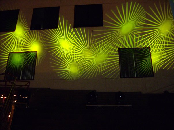 Projecting gobos onto a building
