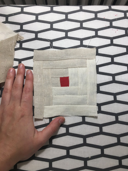 Starting a tiny quilt square