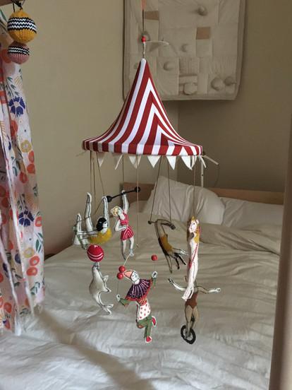 Embroidered, sewn, stuffed circus mobile