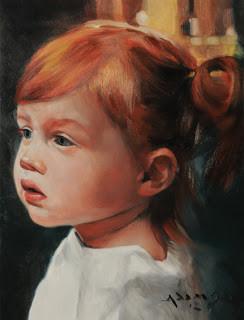 Child study - oil on panel
