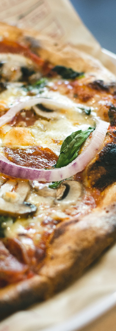 Pizza with Salami Mushrooms and Onion