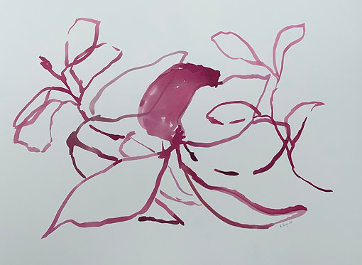 """Hot Pink Magnolia Leaves"""