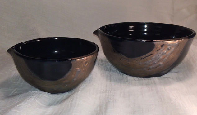 Gold on Black mixing/ pouring bowls