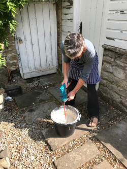 blending the clay
