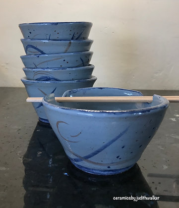 ceramics by judith walker - handmade stoneware ceramic noodle / rice bowls - cook in, eat from, admire - art for everyday