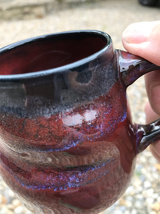 Handmade ceramic mug, wheel-thrown, stretched and altered to give an organic feel in the hand. 'Fire & Ice'  glaze.