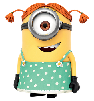 A feae minion wearing a dress with two pig tails.