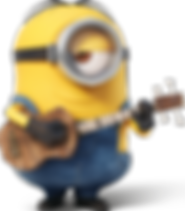 A relaxed minion playing a guitar.