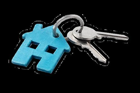 Two keys on a keyring.