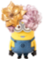 A female minion with candy floss pink curly hair and purple lipstick.