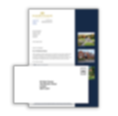 An A4 letter example containing some written content and some photographs of properties as well as an example envelope overlapping.