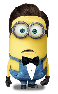 A minion looking shocked wearing a bow tie.