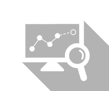 An icon of a computer screen showing a graph and a magnifying glass looking at the computer.