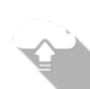 An icon of a cloud with an arrow going into it representing data upload.