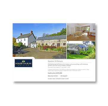 A window card containing three different photos of a property internally and externally andsome text information about the property.