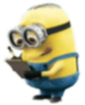 A minion concentrating on taking notes in a notepad.