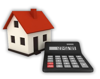 An icon of a house with a calculator next to it.
