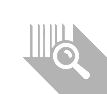An icon of a barcode and a magnifying glass