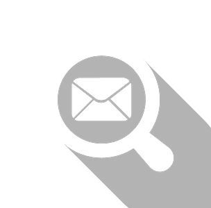 An icon showing a magnifying glass looking at a piece of mail