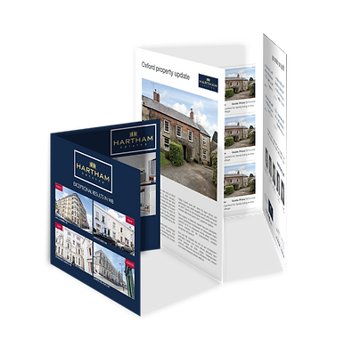 A 4-page mailer and a 6-page mailer example containing various property photos, shown side by side.