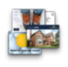 3 overlapping A5 postcards, demonstrating the template styles we can offer to our customers.