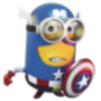 A minion wearing an avengers costume and holding a shield.