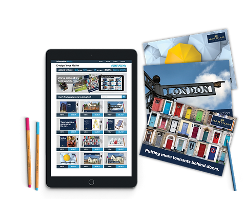 An ipad showing the mailer design process alongside three different mailers.