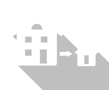 An icon of a large house next to an arrow next to a much smaller house.