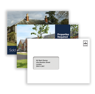 2 A5 postcards showing different template styles and a window envelope containing an A5 postcard.