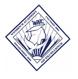 Women's Academy of Excellence logo with a girl in a graduation cap behind a white dove.