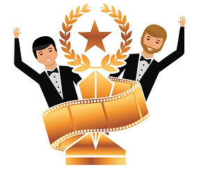 two-actors-waving-hand-with-gold-trophy-
