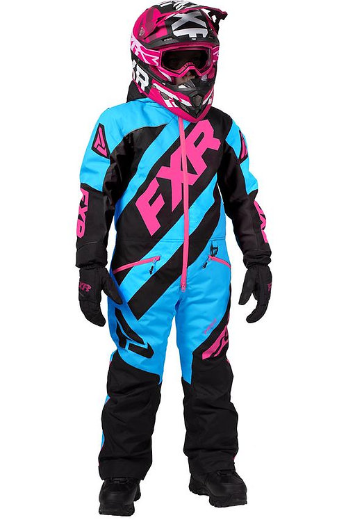 FXR Monosuite barn svart/blå/rosa