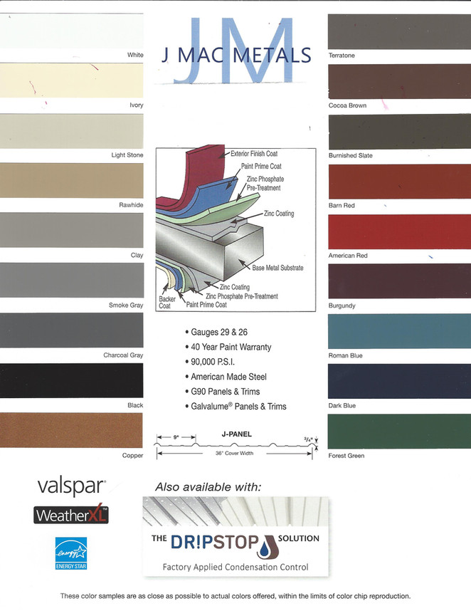 J Mac Metals Color Chart