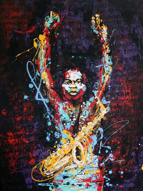 "Painting on caneva ""Fela"" by Tijay"