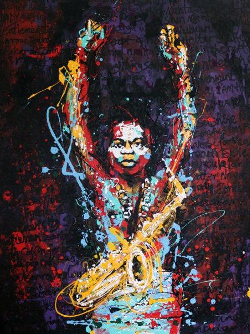 """Painting on caneva """"Fela"""" by Tijay"""