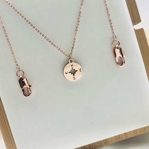 2-Way Compass Mask Chain/Necklace (Rose Gold)