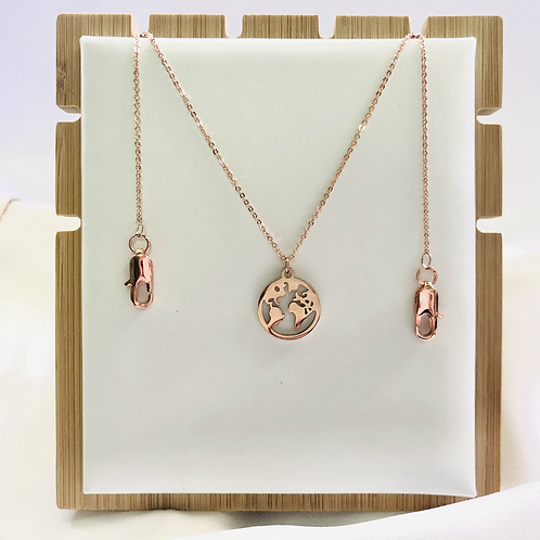 2-Way World Map Mask Chain/Necklace (Rose Gold)