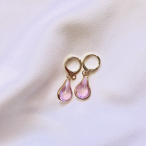 Pink Teardrop Huggies (14K Plating)
