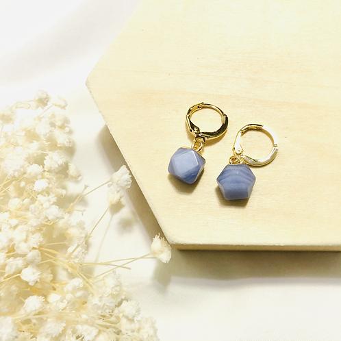 Blue Lace Agate Huggies (14K Plating)