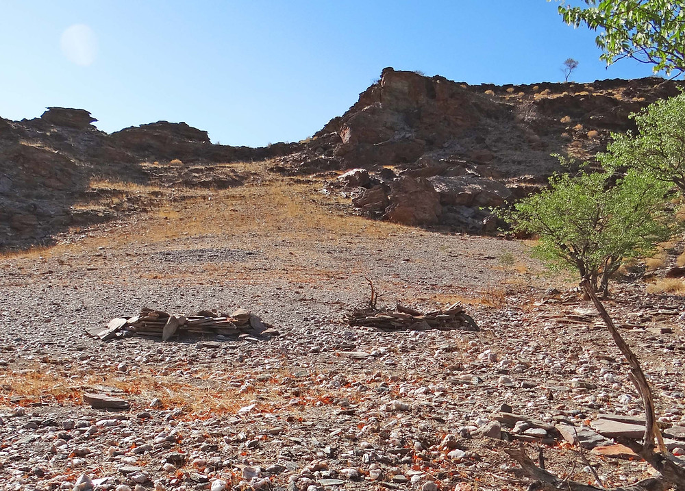 Circular stone shelters near the spring known in the past as Sixori, south-west of Sesfontein. For shelter they would have been covered with foliage from Petalidium spp. known as ||ôna (photo: Sian Sullivan, 080315).