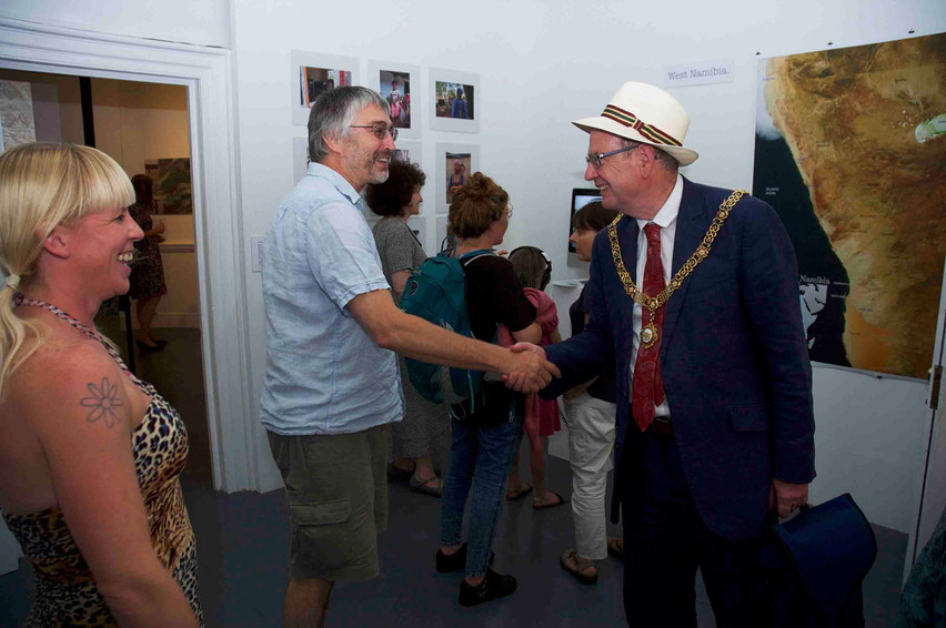 Mike greets the Mayor of Bath, Ian Gilchrist, with Katie O'Brien, director of Gallery 44AD