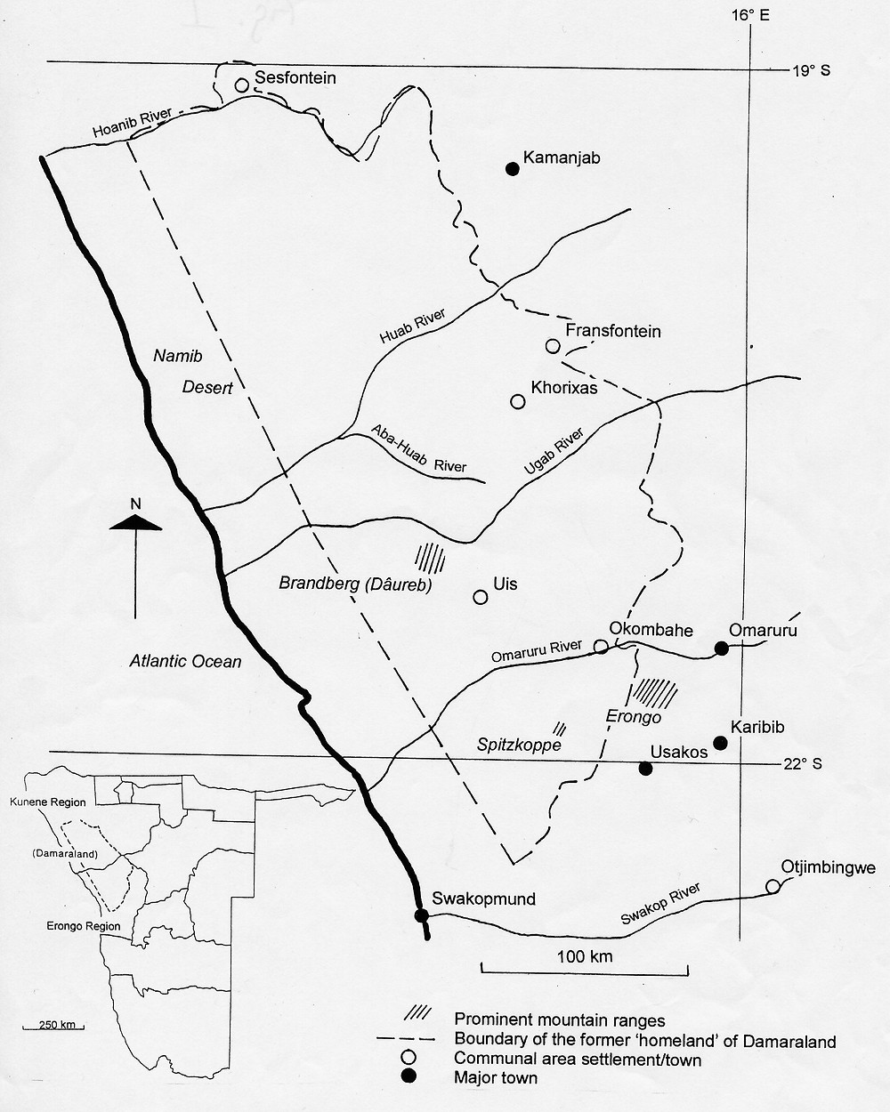 Map showing the boundary of the former 'homeland' of 'Damaraland' establised in 1970 following the recommendations of the Odendaal Commission in 1964.