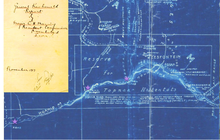 Section of Kaokoveld map made in 1917 by Major Charles John Manning, the first Resident Commissioner of Owamboland, showing Sesfontein and the Hoanib River. The asterixes mark place names that do not appear on current maps of the area but that are remembered by elderly inhabitants of Sesfontein and environs.