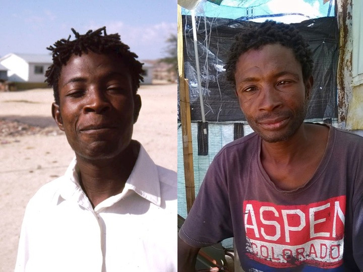 Albert (|Eteb) Nuwuseb, photographed in 1995 (L) and 2015 (R) (photos: Rick Rohde)